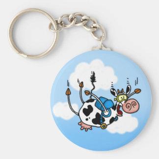 vache à parachutisme aucun porte - clé de txt porte-clé rond