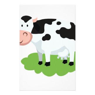 vache à traite dans le jardin papier à lettre customisable
