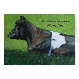 Vache au pastel : Udderly Loneseome sans vous Carte De Vœux