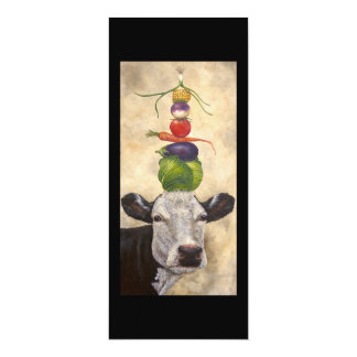 Vache avec la carte plate de légume carton d'invitation  10,16 cm x 23,49 cm