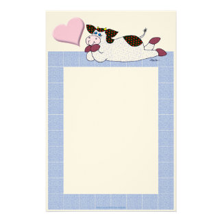 """Vache """"belles pensées de pensée """" à houx papier à lettre"""