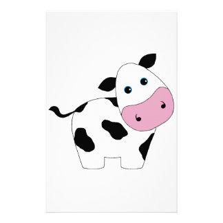 Vache blanche mignonne papier à lettre personnalisé