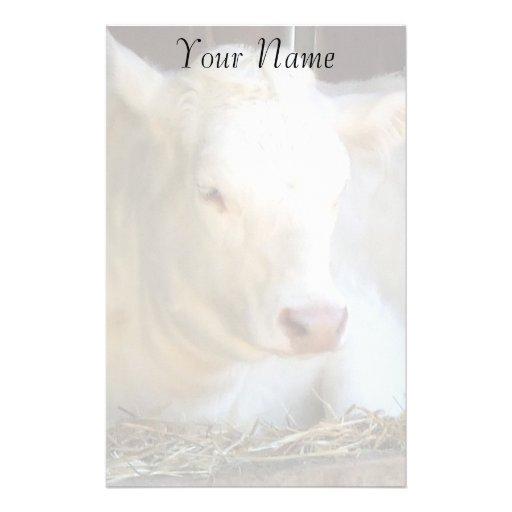 Vache blanche papier à lettre customisé