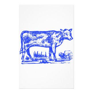 Vache bleue papier à lettre personnalisable