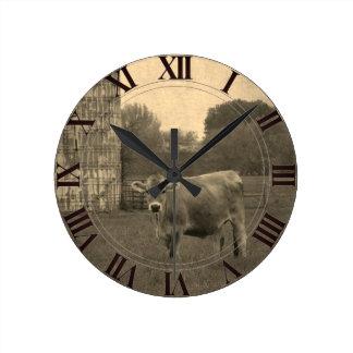 Vache Clockface du Jersey de champ Horloge Ronde