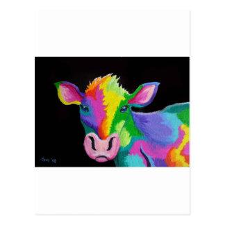 Vache colorée carte postale