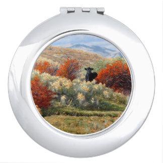 Vache dans l'automne plaçant le miroir compact