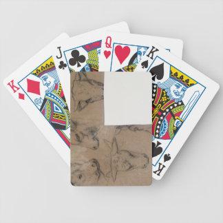 Vache de Cinq Croquis de tete de (crayon sur le pa Jeu De Poker