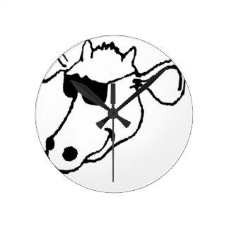 Vache de tabagisme avec des lunettes de soleil horloge ronde