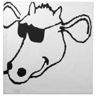 Vache de tabagisme avec des lunettes de soleil serviettes de table