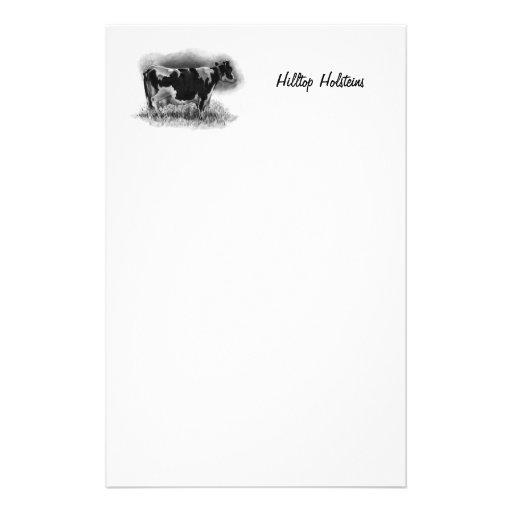 Vache du Holstein au crayon : Laiterie, ferme, ran Papier À Lettre Personnalisé