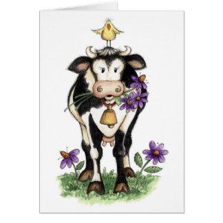 Vache en fleurs - carte de note