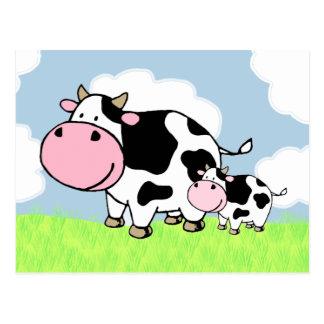 Vache et bébé carte postale