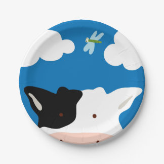 Vache et libellule assiettes en papier