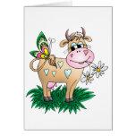 Vache et papillon mignons carte de vœux