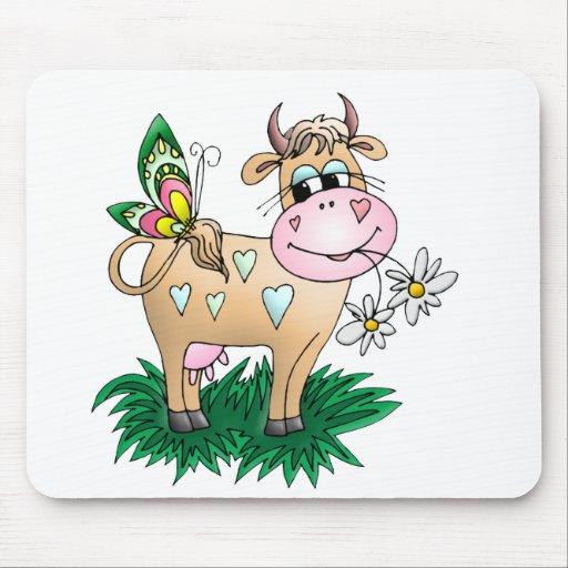 Vache et papillon mignons tapis de souris