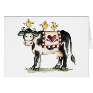 Vache et poussins - carte de note