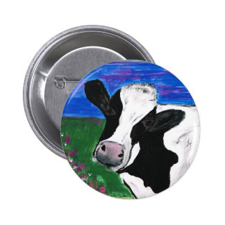 Vache, ferme, animal, veau rural et peint à la badge