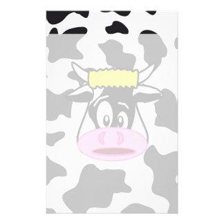 Vache folle drôle Taureau sur le motif Papier À Lettre Personnalisable