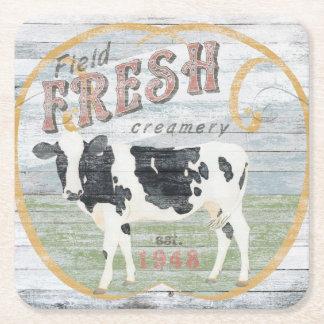 Vache fraîche vintage à industrie latière dessous-de-verre carré en papier