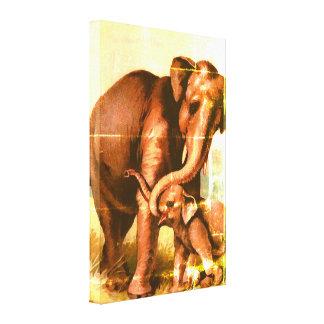 Vache grunge vintage à éléphant avec son veau toile