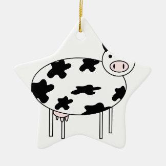 Vache illustrée ornement étoile en céramique