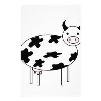 Vache illustrée papier à lettre customisable