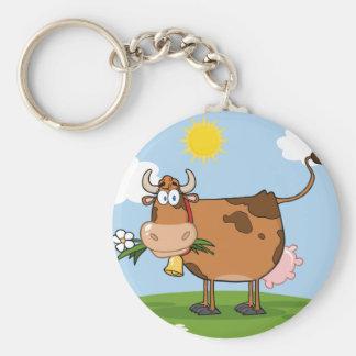 Vache laitière de Brown Porte-clé Rond