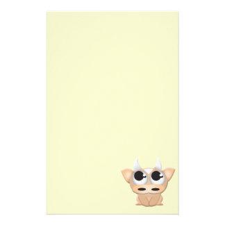 Vache mignonne à bande dessinée papier à lettre customisable