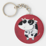 Vache mignonne à bébé porte-clé rond