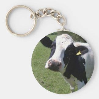 Vache mignonne porte-clé rond