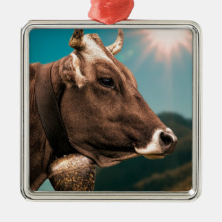 vache ornement carré argenté