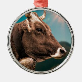vache ornement rond argenté