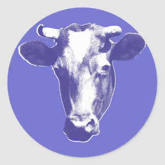 Vache pourpre à art de bruit sticker rond