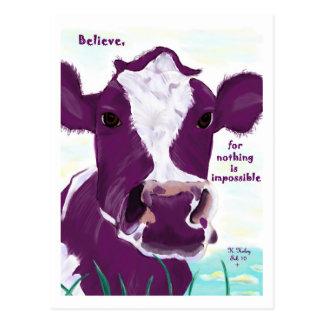 Vache pourpre très probablement contemplant le vol carte postale