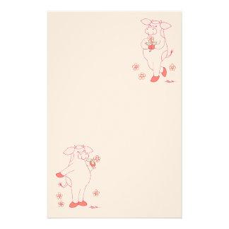 Vache simplement douce à houx papier à lettre personnalisable