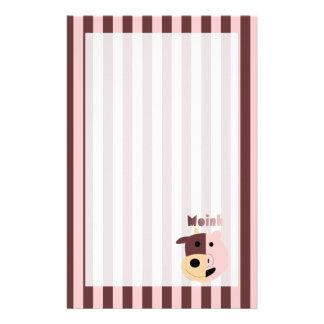 Vache + Stationnaire rayé de porc = de Moink Papier À Lettre Personnalisé