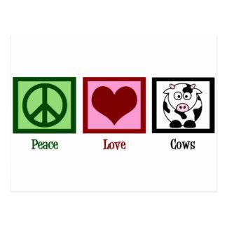 Vaches à amour de paix carte postale