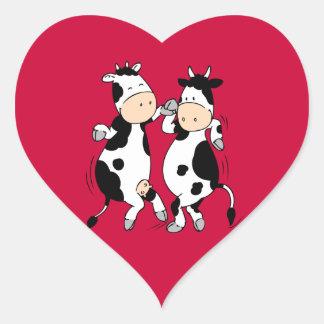 Vaches à danse (mooviestars) sticker cœur