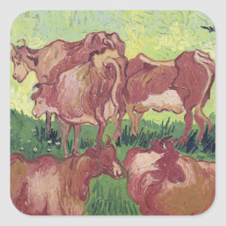 Vaches à Vincent van Gogh |, 1890 Sticker Carré