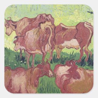 Vaches à Vincent van Gogh |, 1890 Sticker Carré