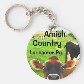 Vaches amish à pays ! Lancaster Porte-clé Rond
