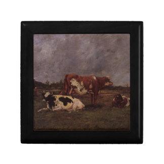 Vaches dans le pâturage par Eugene Boudin Petite Boîte À Bijoux Carrée