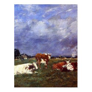 Vaches dans le pâturage par Eugene Boudin Carte Postale