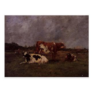 Vaches dans le pâturage par Eugene Boudin Cartes Postales