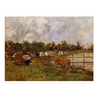 Vaches dans le pré par Eugene Boudin Cartes Postales