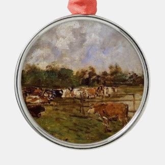 Vaches dans le pré par Eugene Boudin Ornement Rond Argenté
