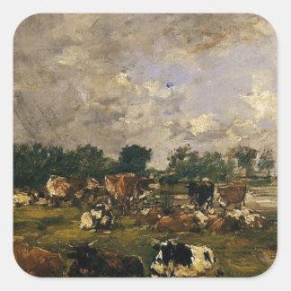 Vaches dans les domaines par Eugene Boudin Sticker Carré