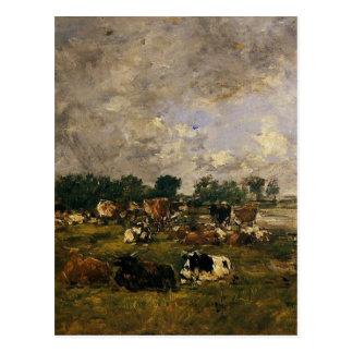 Vaches dans les domaines par Eugene Boudin Carte Postale