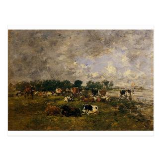Vaches dans les domaines par Eugene Boudin Cartes Postales